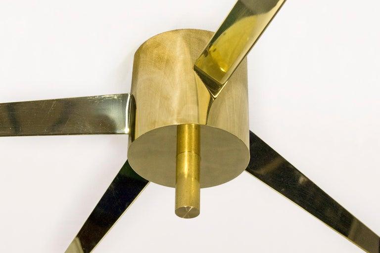 Italian Angelo Lelli Style Three-Arm Chandelier, circa 1970, Italy For Sale
