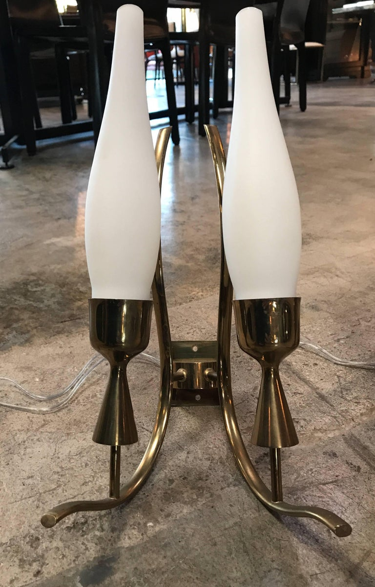 Italian Angelo Lelli, Pair of Rare Brass and Glass Wall Lamps, 1950 For Sale