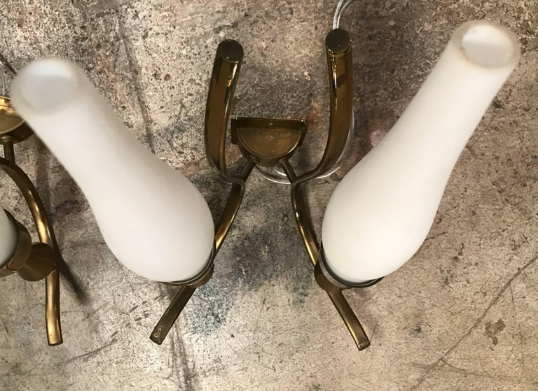 Angelo Lelli, Pair of Rare Brass and Glass Wall Lamps, 1950 In Excellent Condition For Sale In Los Angeles, CA
