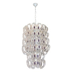 Angelo Mangiarotti 1970 Vistosi Crystal Murano Glass Chandelier with Purple Core