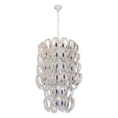 Angelo Mangiarotti 1970 Vistosi Crystal Murano Glass Chandelier with Purple Core