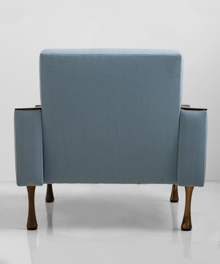 Modern Angelo Mangiarotti Armchair in Wool Blend from Maharam, Italy, circa 1960 For Sale