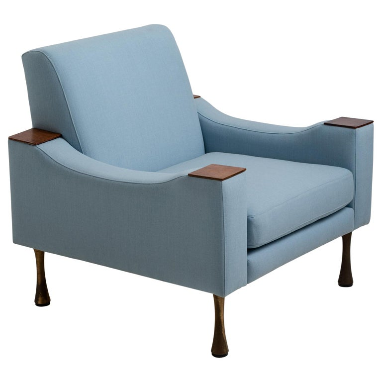 Angelo Mangiarotti Armchair in Wool Blend from Maharam, Italy, circa 1960 For Sale