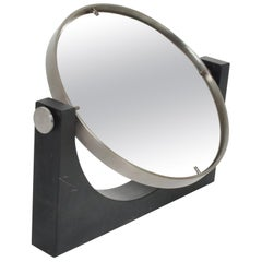 Angelo Mangiarotti Black Carrara Marble Table-Top Vanity Mirror, 1970s, Italy