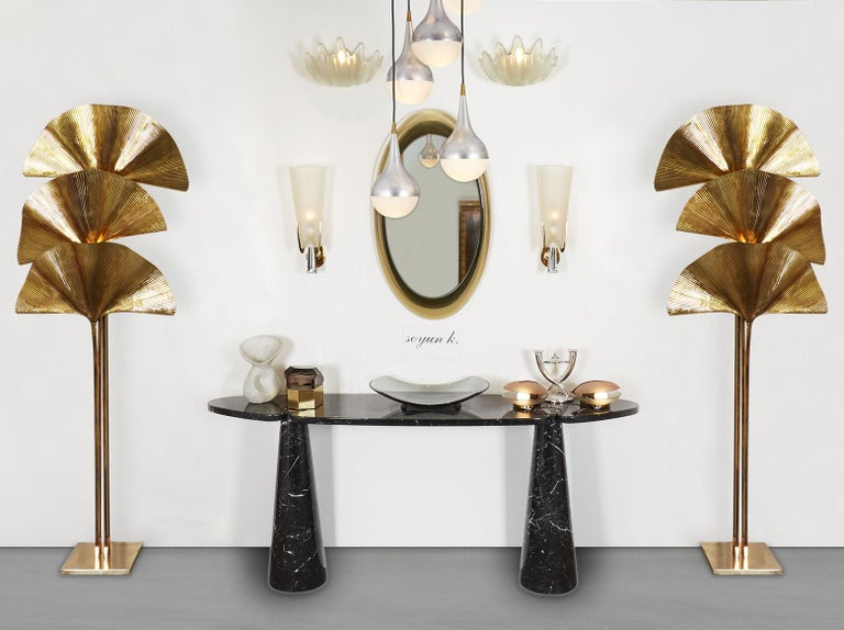 Angelo Mangiarotti Black Marquina Marble Console For Sale 2