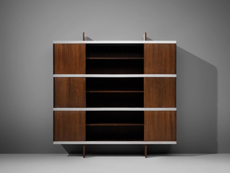 Angelo Mangiarotti Cabinet in Wood and Aluminium For Sale 4