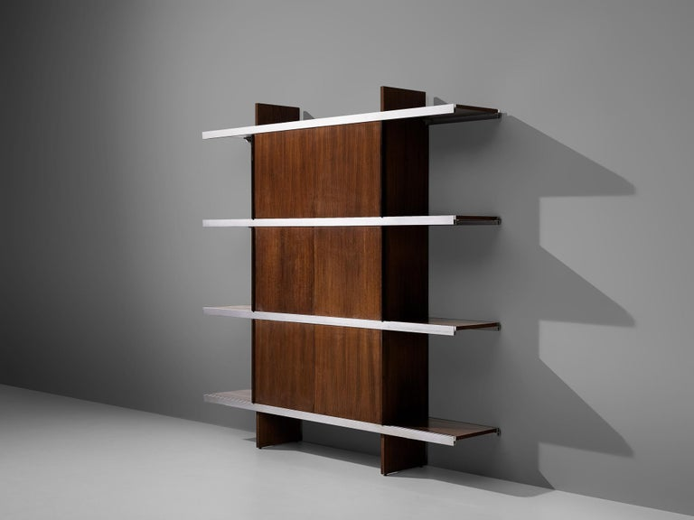 Angelo Mangiarotti for Poltronova, wall unit from 'Multiuse Series', exotic wood, aluminum, Italy, 1965  Beautiful bookcase or cabinet of the 'Multiuse Series' that Mangiarotti designed for Poltronova in 1965. Known for his designs with marble