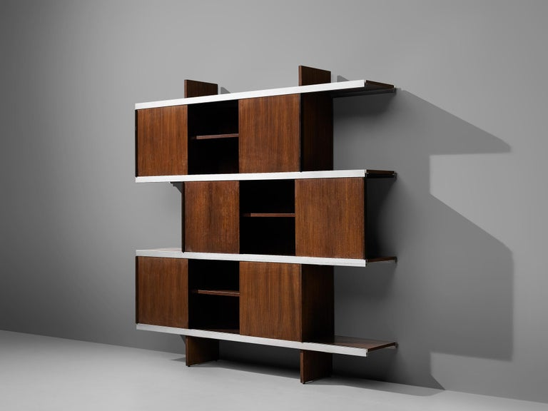 Italian Angelo Mangiarotti Cabinet in Wood and Aluminium For Sale
