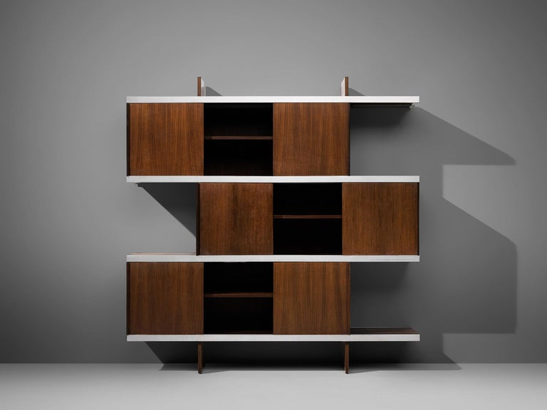 Angelo Mangiarotti Cabinet in Wood and Aluminium In Good Condition For Sale In Waalwijk, NL