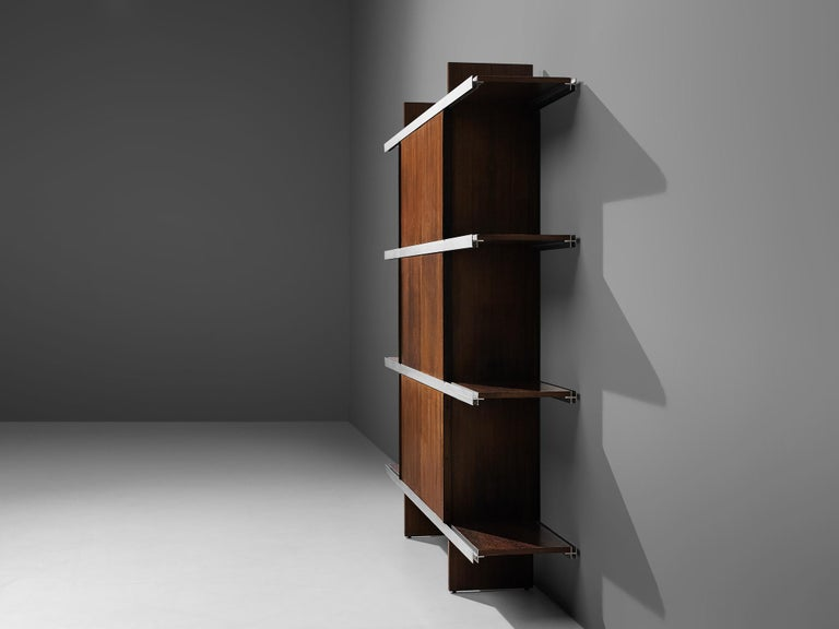 Mid-20th Century Angelo Mangiarotti Cabinet in Wood and Aluminium For Sale