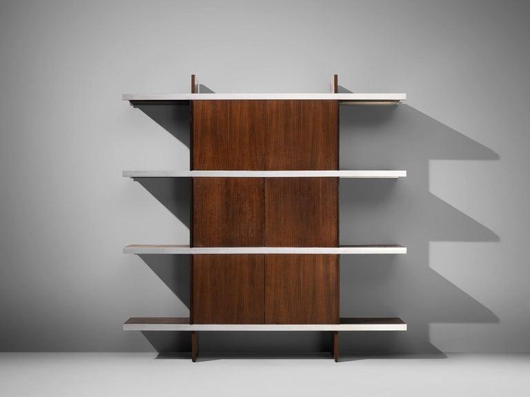 Aluminum Angelo Mangiarotti Cabinet in Wood and Aluminium For Sale