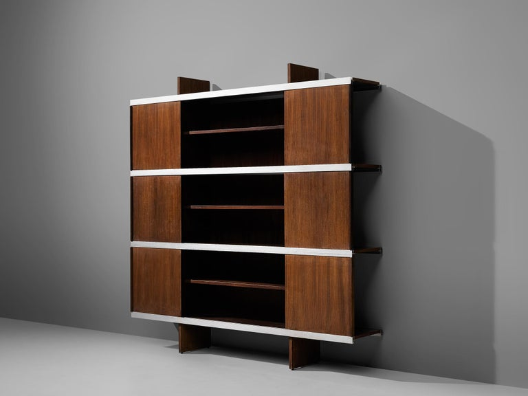 Angelo Mangiarotti Cabinet in Wood and Aluminium For Sale 2