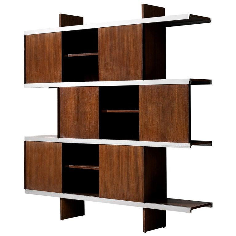 Angelo Mangiarotti Cabinet in Wood and Aluminium For Sale