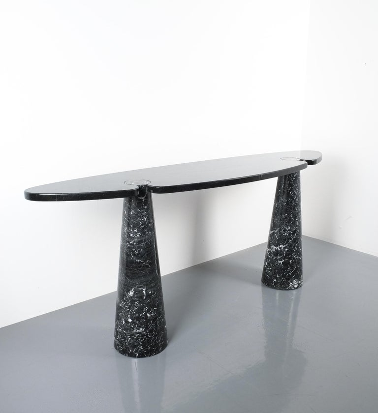 Angelo Mangiarotti Console Table Eros Black Marquina Marble, Italy In Good Condition For Sale In Vienna, AT