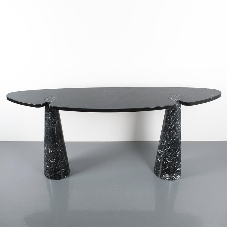 Angelo Mangiarotti Console Table Eros Black Marquina Marble, Italy For Sale 4