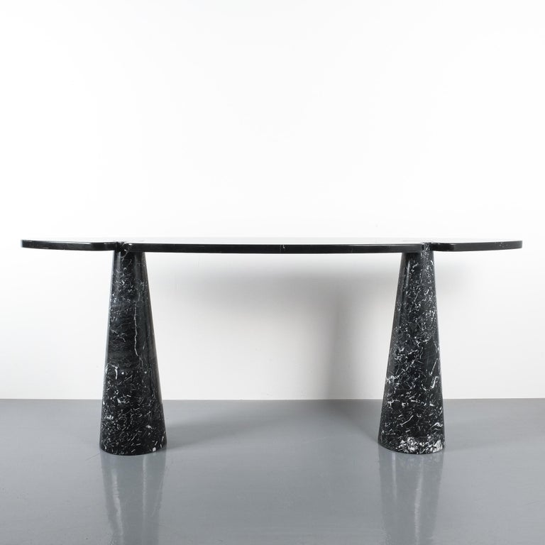 Angelo Mangiarotti Console Table Eros Black Marquina Marble, Italy For Sale 5