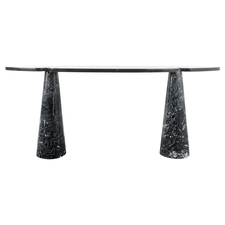 Angelo Mangiarotti Console Table Eros Black Marquina Marble, Italy For Sale