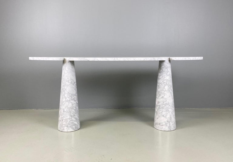 Angelo Mangiarotti console table Eros Carrara marble, Italy, circa 1975. The table is in wonderful condition with hardly any wear. No chips or cracks or major blemishes. White original label. Available pair.