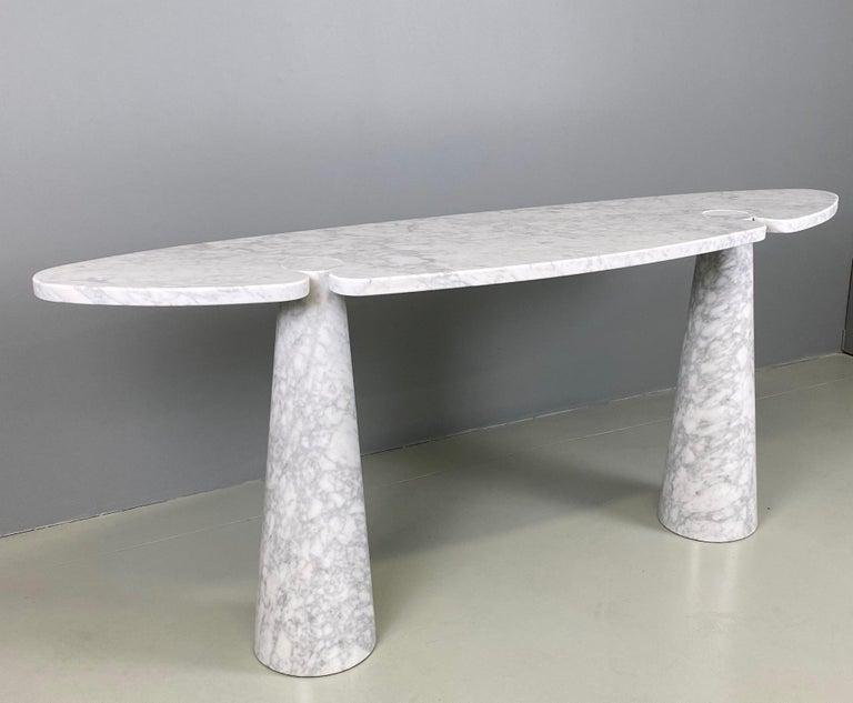Mid-Century Modern Angelo Mangiarotti Console Table Eros Carrara Marble