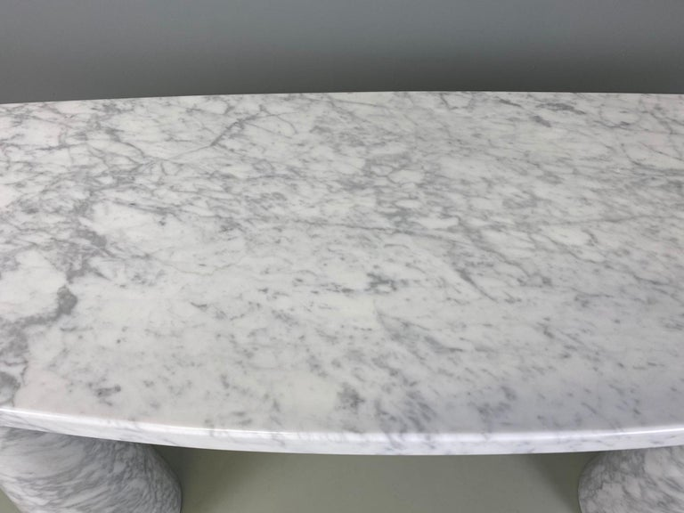 20th Century Angelo Mangiarotti Console Table Eros Carrara Marble