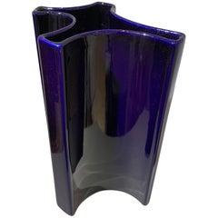 Angelo Mangiarotti Dark Indigo Ceramic Vase, 1960