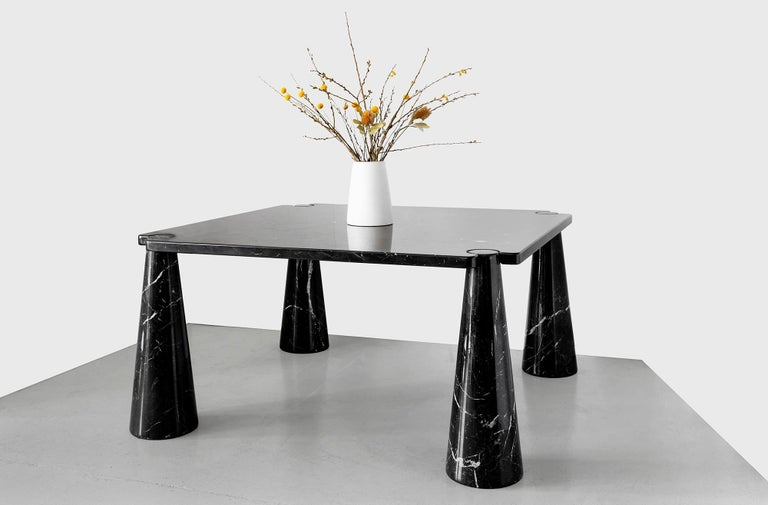 Gorgeous large black marble dining table by Angelo Mangiarotti, 