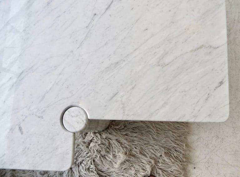 Angelo Mangiarotti Eros Collection Freccia White Carrara Marble Coffee Table For Sale 4