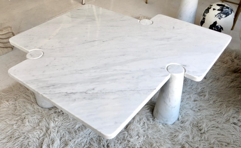 Angelo Mangiarotti Eros Collection Freccia White Carrara Marble Coffee Table For Sale 5