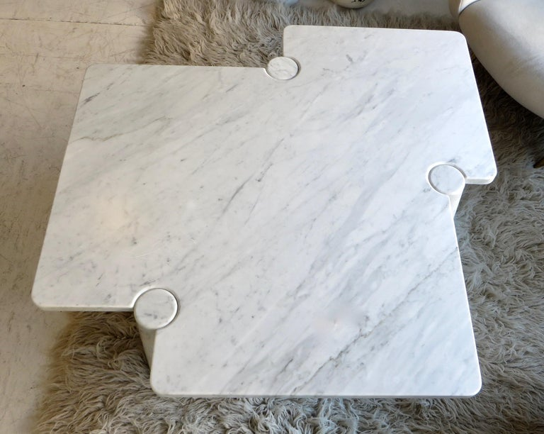 Angelo Mangiarotti Eros Collection Freccia White Carrara Marble Coffee Table For Sale 7