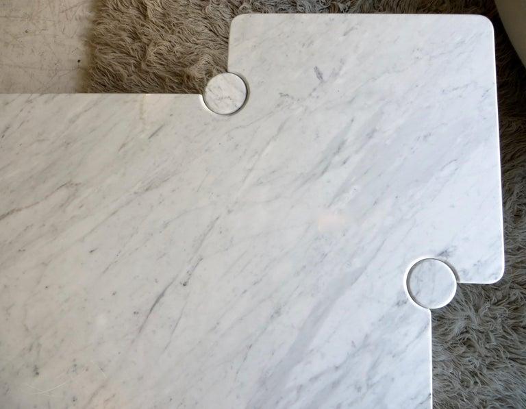 Angelo Mangiarotti Eros Collection Freccia White Carrara Marble Coffee Table For Sale 8