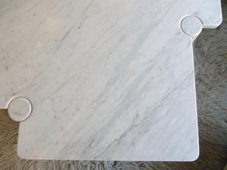 Angelo Mangiarotti Eros Collection Freccia White Carrara Marble Coffee Table For Sale 9