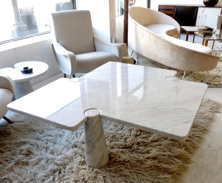 Angelo Mangiarotti Eros Collection Freccia White Carrara Marble Coffee Table For Sale 11