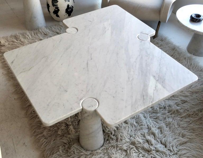 Italian Angelo Mangiarotti Eros Collection Freccia White Carrara Marble Coffee Table For Sale