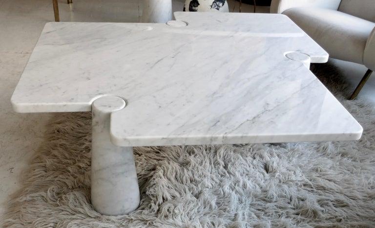 Late 20th Century Angelo Mangiarotti Eros Collection Freccia White Carrara Marble Coffee Table For Sale