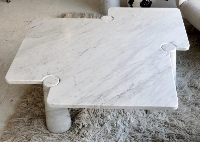 Angelo Mangiarotti Eros Collection Freccia White Carrara Marble Coffee Table For Sale 2