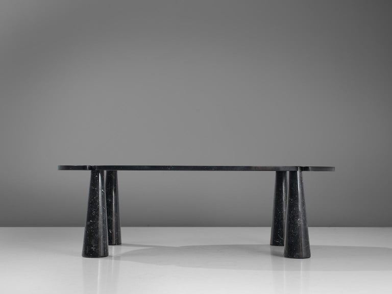 Post-Modern Angelo Mangiarotti Eros Marble Dining Table in Black Marble