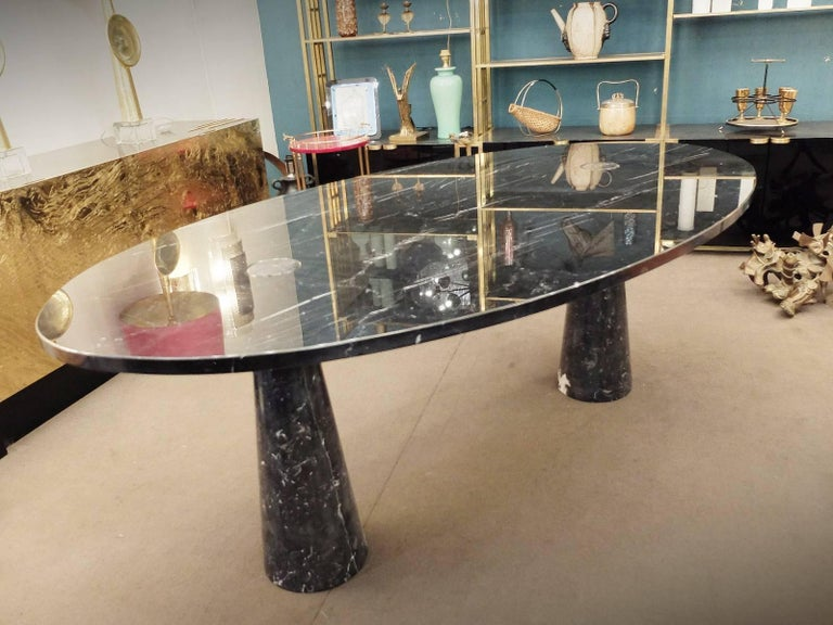 Industrial Angelo Mangiarotti 'Eros' Nero Marquina Marble Dining Table For Sale