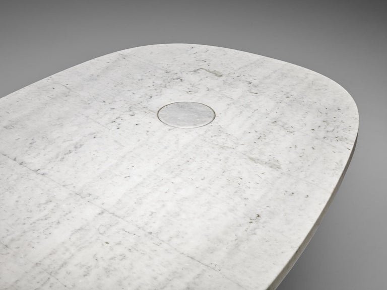 Angelo Mangiarotti 'Eros' Oval Dining Table in White Marble For Sale 4