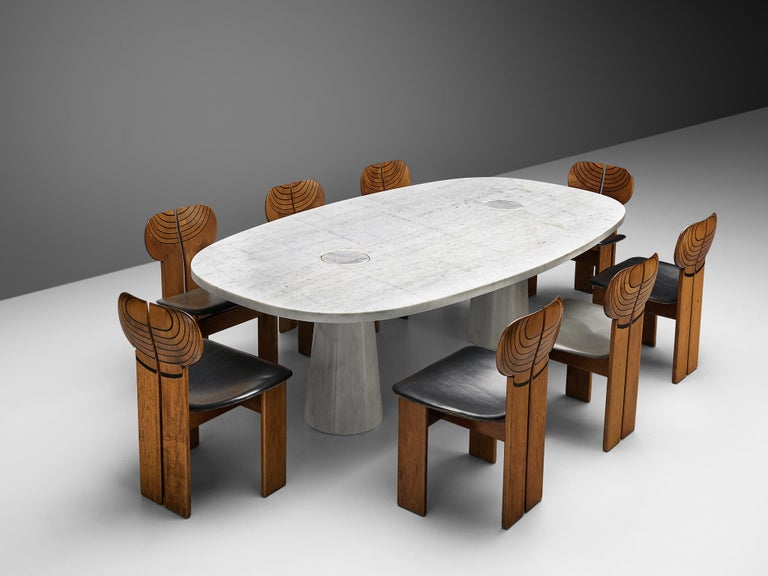 Angelo Mangiarotti 'Eros' Oval Dining Table in White Marble For Sale 5
