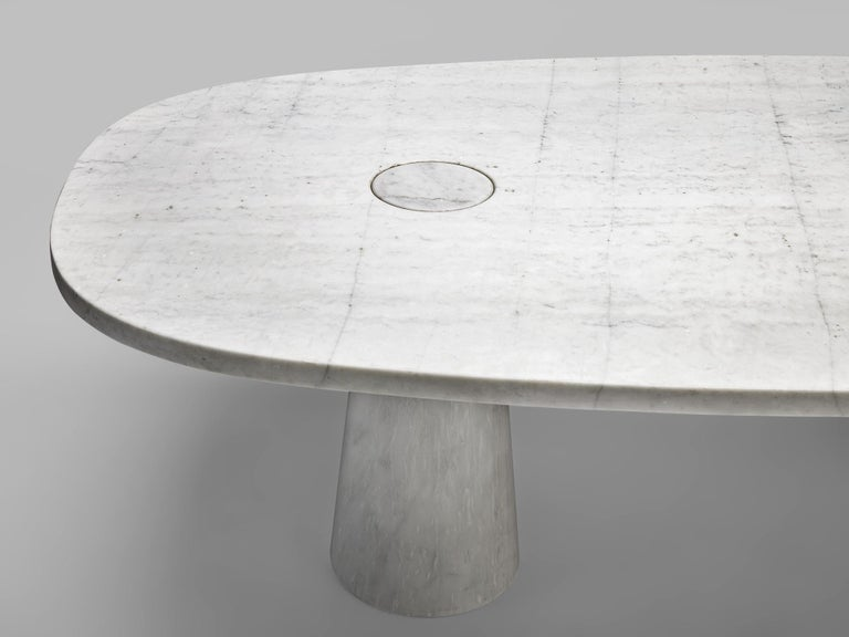 Angelo Mangiarotti 'Eros' Oval Dining Table in White Marble For Sale 6