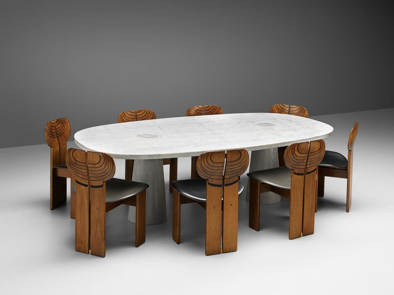 Post-Modern Angelo Mangiarotti 'Eros' Oval Dining Table in White Marble For Sale