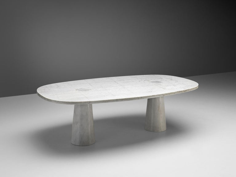 Italian Angelo Mangiarotti 'Eros' Oval Dining Table in White Marble For Sale
