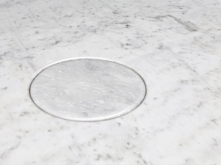 Angelo Mangiarotti 'Eros' Oval Dining Table in White Marble In Good Condition For Sale In Waalwijk, NL