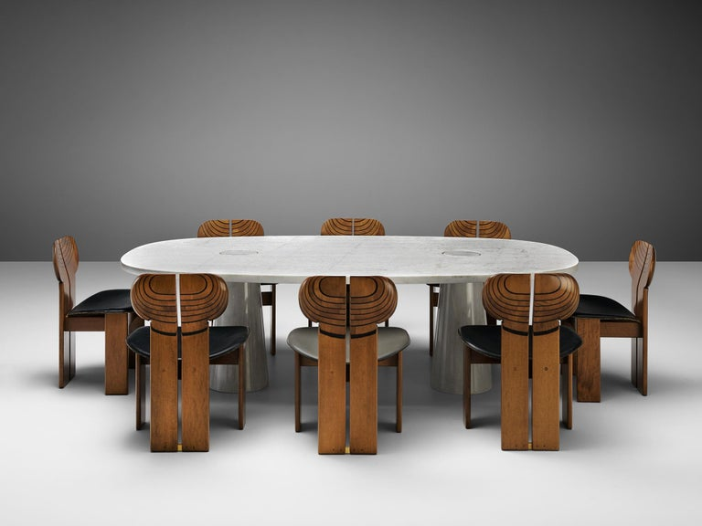 Late 20th Century Angelo Mangiarotti 'Eros' Oval Dining Table in White Marble For Sale