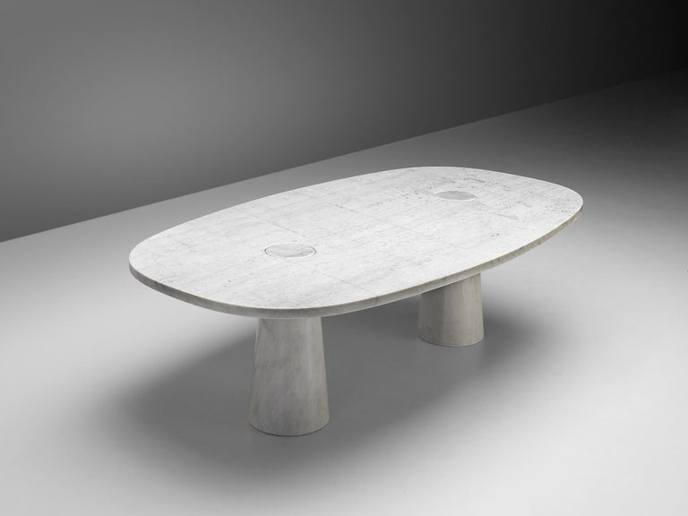 Angelo Mangiarotti 'Eros' Oval Dining Table in White Marble For Sale 1