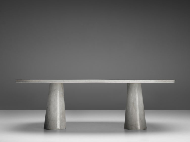 Angelo Mangiarotti 'Eros' Oval Dining Table in White Marble For Sale 3