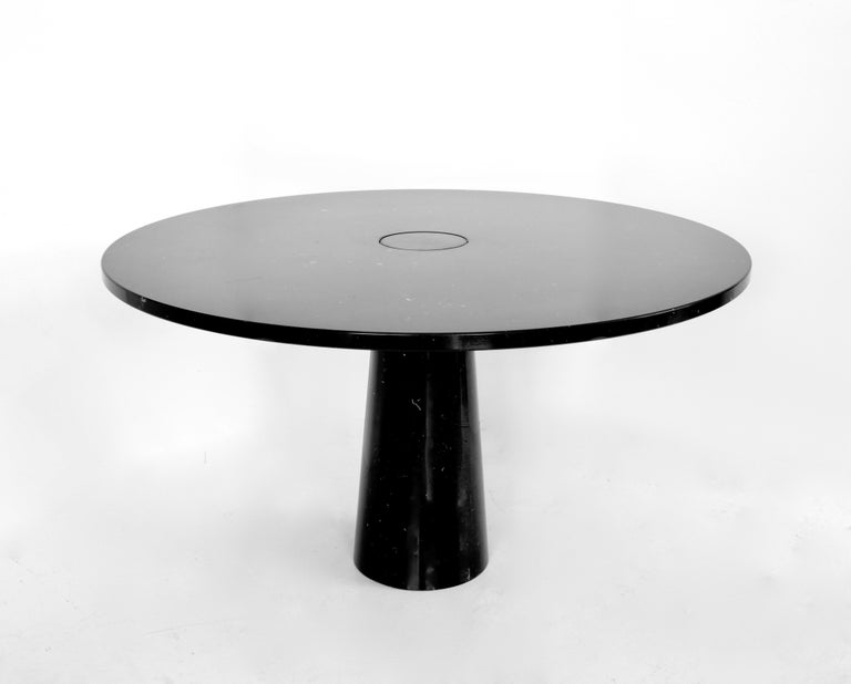 Mid-Century Modern Angelo Mangiarotti Eros Round Dining Table in Black Marquina Marble for Skipper For Sale