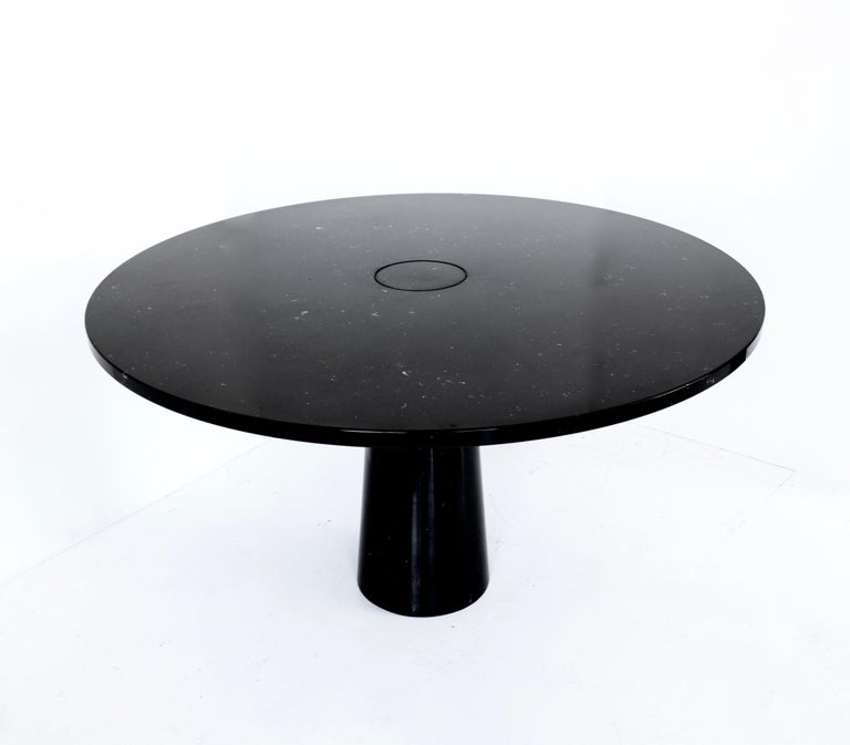 Italian Angelo Mangiarotti Eros Round Dining Table in Black Marquina Marble for Skipper For Sale