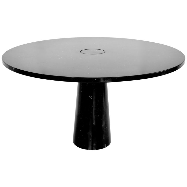 Angelo Mangiarotti Eros Round Dining Table in Black Marquina Marble for Skipper For Sale