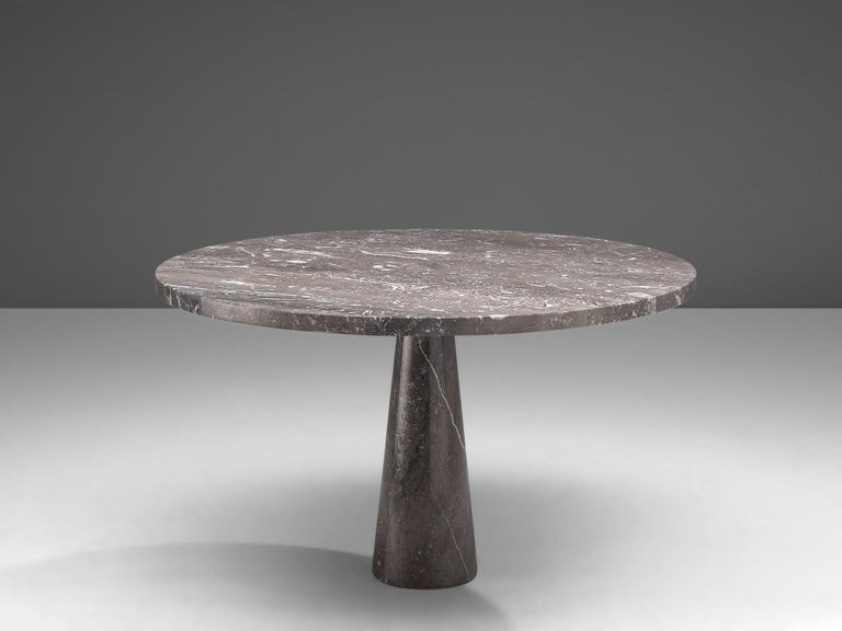 Post-Modern Angelo Mangiarotti 'Eros' Round Table in Grey Marble For Sale